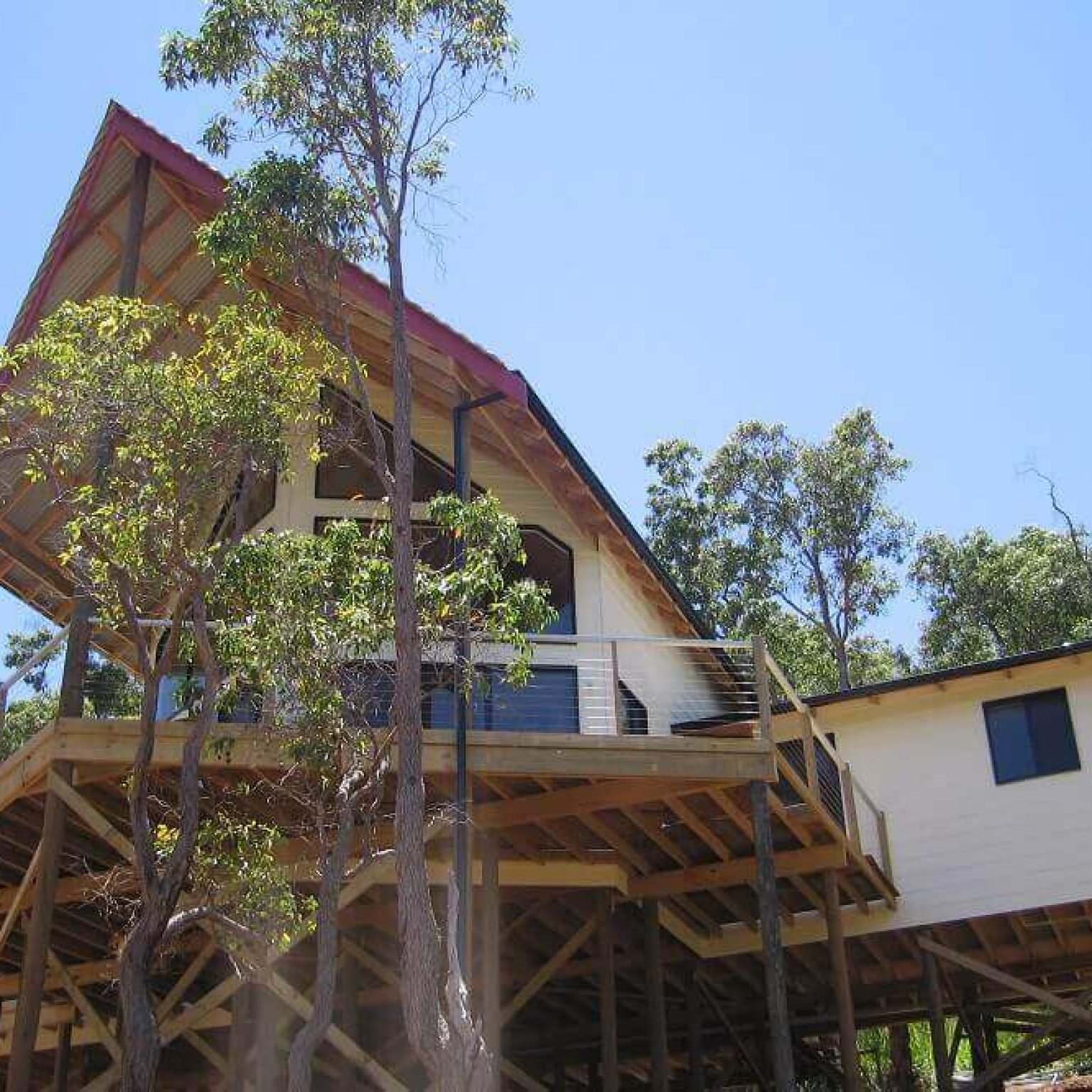Custom built timber framed pole home in Roleystone, Western Australia.