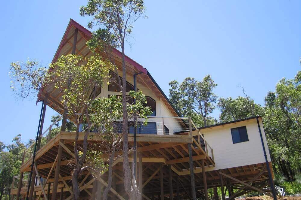 Custom built timber framed pole home in Roleystone, Western Australia.