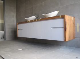Ensuite vanity with Marri top