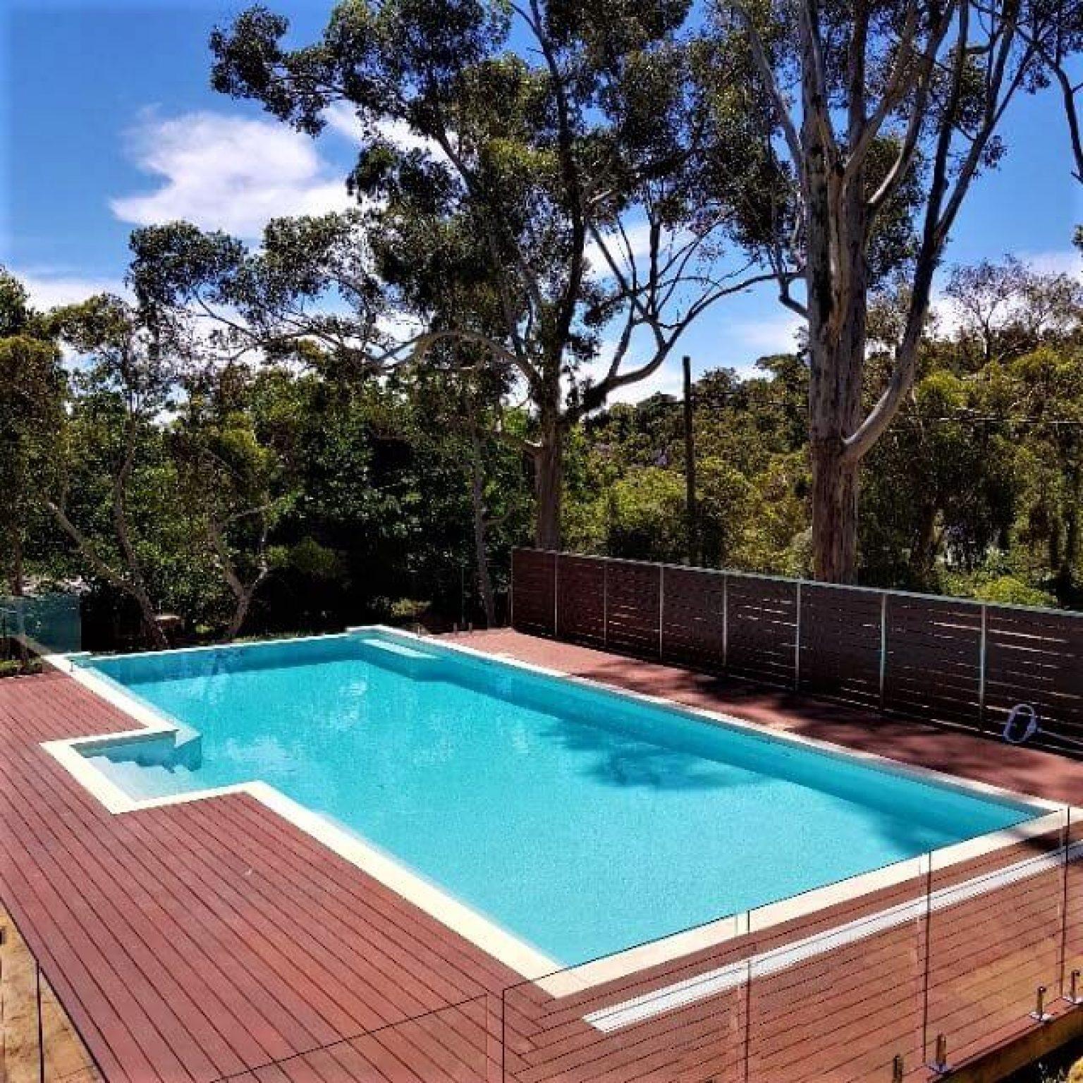 Custom built pool deck fencing screening
