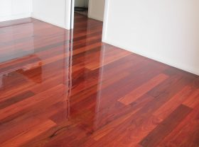 So shiny! Jarrah floorboards all polished up.