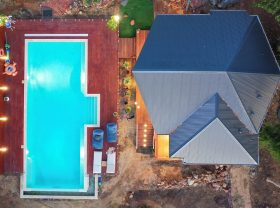 Aerial view of the Cabana, Pool and Deck